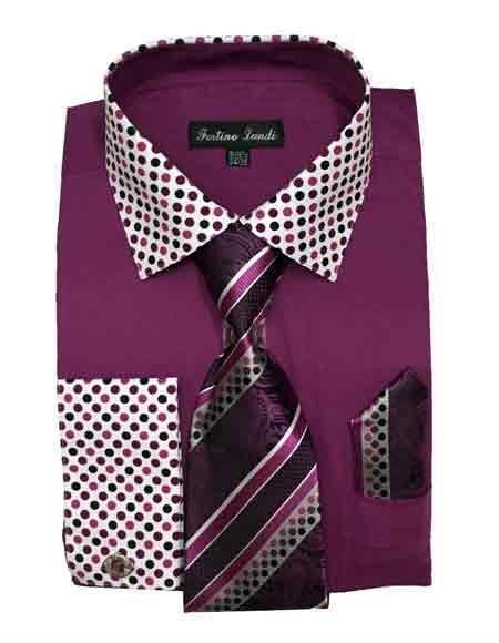 Rose Purple Cotton Blend Solid/Polka Dot Pattern Matching Tie & Hanky Men's Dress Shirt