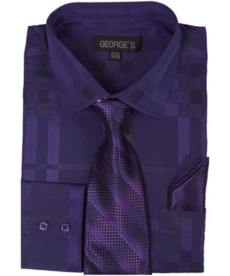 Mens Purple Dress Shirt 60% Cotton 40% Polyester Shadow Striped Tie with Hanky
