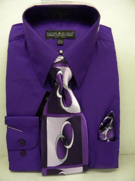 SKU#QL1002 Mens Purple Dress Shirt Tie Set