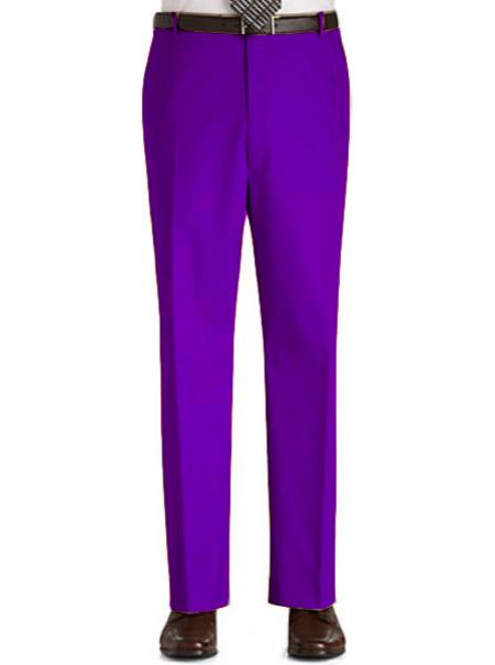 Stage Party Pants Trousers Flat Front Regular Rise Slacks - Purple