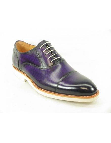 Men's Fashionable Carrucci Genuine Purple Leather Oxford Shoes With White Sole