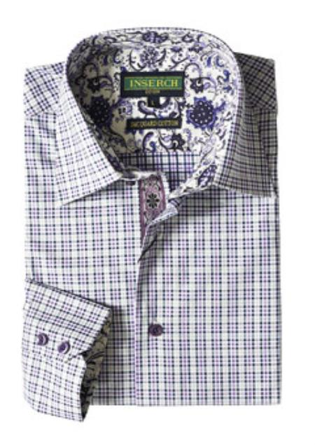 Mens Purple Plaid Cotton