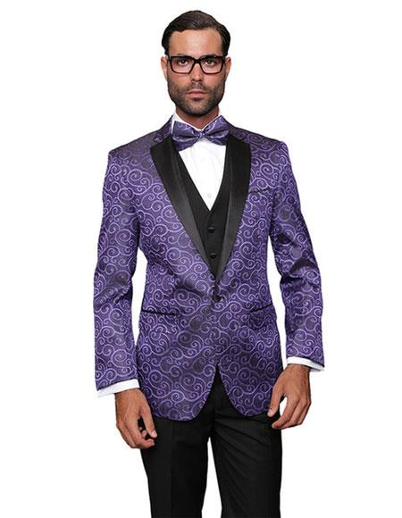 Mens Floral Sateen Unique Paisley Sport Coat Shiny Flashy Silky Satin Stage Fancy Stage Party Two Toned Blazer / Sport coat / Mens Jacket / Dinner Jacket Purple Sport coat Two toned Black Lapel