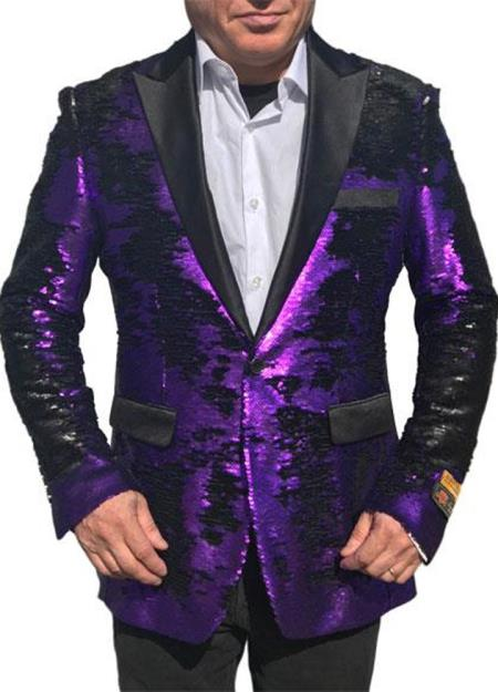 Purple paisley look Alberto Nardoni Shiny Sequin Black Lapel Tuxedo sport coat jacket