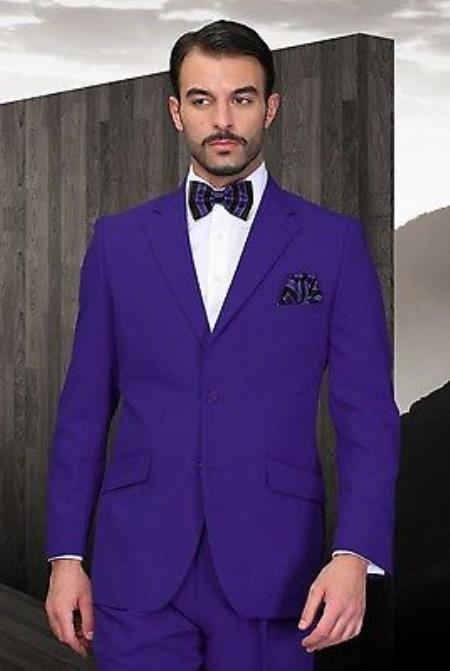 Buy KA7824 Mens Purple Poly~Rayon Fabric Modern Cut 2 Button Suit