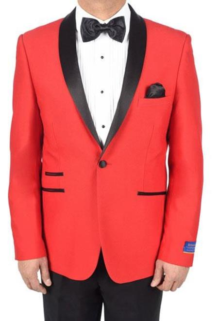 Mens Red 1 Button Viscose Blend Tuxedo Solid Pattern Shawl Lapel Dinner Jacket - Red Tuxedo