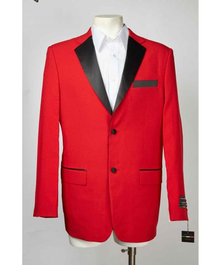 Single Breasted Mens Red And Black Notch Lapel Two Button Cheap Priced Blazer Jacket For Men