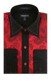 Red/Black Microfiber Design Paisley Regular Fit Men's Dress Shirt