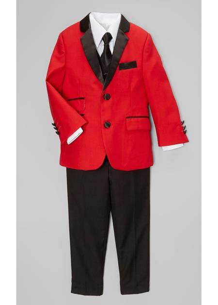 Boys Red And Black Lapel Boy suit & Cheap Priced Blazer Jacket For Men & Pants