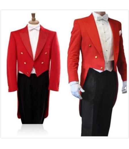 Mens 3 Piece Formal Wedding Tuxedo Red/Black Tail Tuxedo Tux Tailcoat Tuxedo Jacket with the tail suit tuxedo with tails