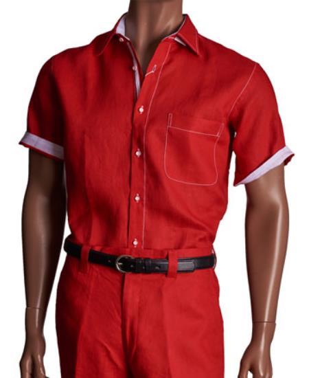 Linen 2 Piece Red