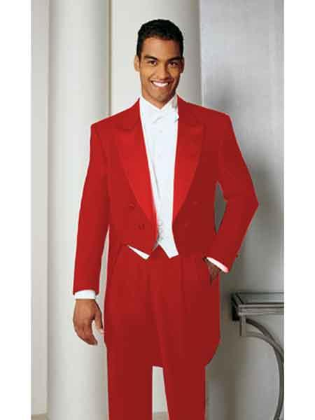 Mens Hot Red Basic Full Dress Tailcoat With Peak Lapel Tail Tuxedo Tux Tailcoat Tuxedo Jacket with the tail suit tuxedo with tails - Red Tuxedo