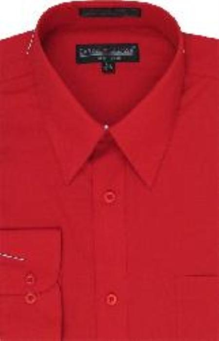 Men's 5 Button Closure Slim Fit Shirt Red