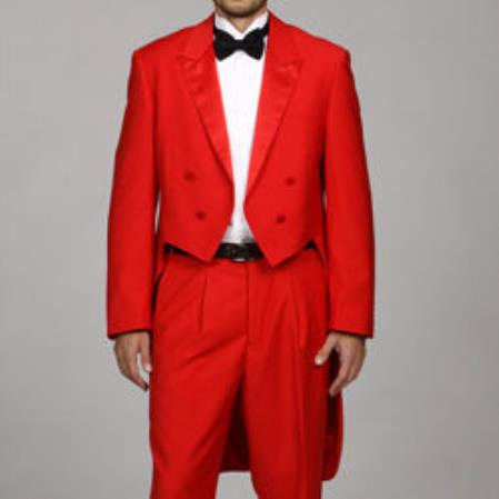 Mens Tail Tuxedo Tux Tailcoat Red Tuxedo Jacket with the tail suit tuxedo with tails