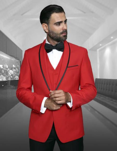 Mens Black Trim Lapel Two toned Red Fashion Tux by Statement Suits Clothing Confidence