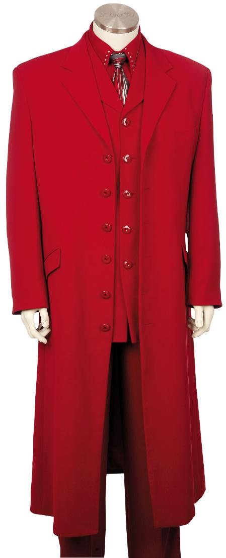 Mens Hot Red 3 Piece Zoot Suit 45 Long Jacket EXTRA LONG JACKET Maxi Very Long
