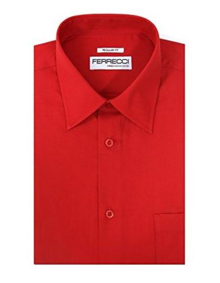 Ferrecci Red Lay Down Collared Regular Fit Cotton Blend Mens Dress Shirt