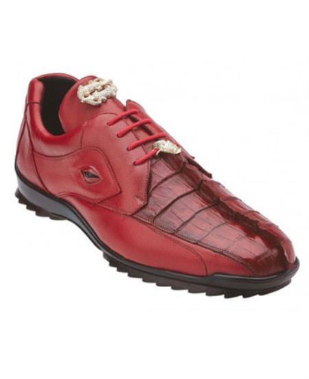 Mens Genuine Hornback Crocodile Authentic Genuine Skin Italian Tennis Dress Sneaker Shoes Red