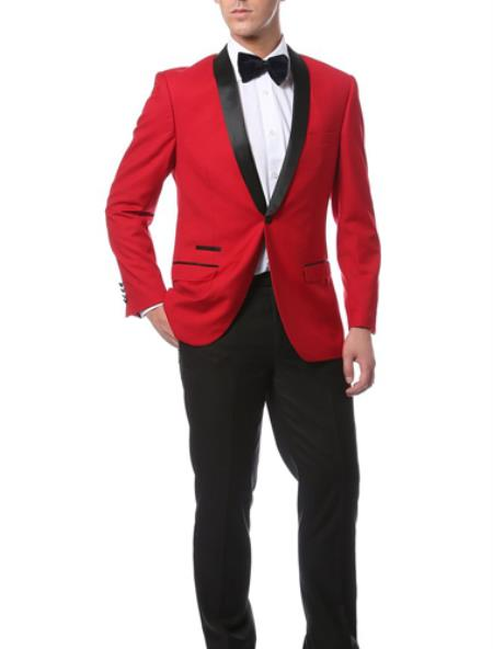 Buy MK462 Mens Slim Fit 1 Button Shawl Collar Dinner Jacket Blazer Sport Coat Black Lapeled Matching Pants Red Black