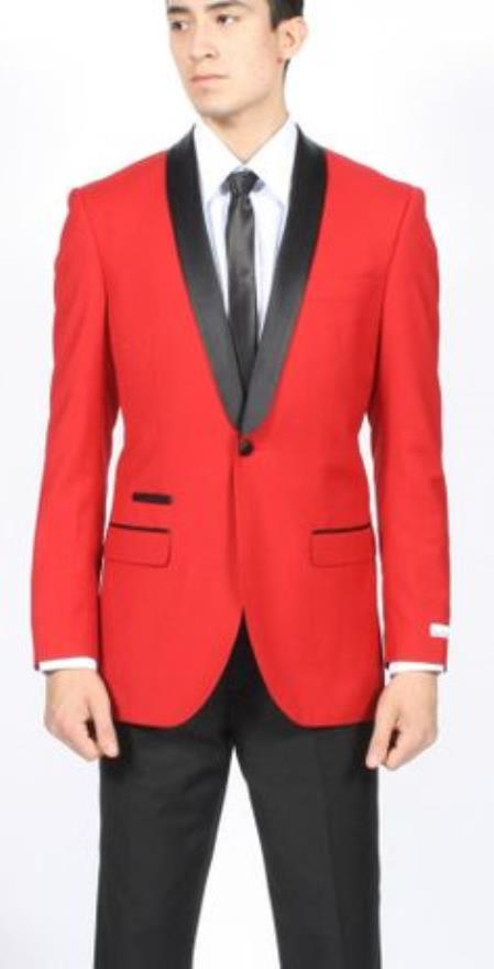Mens Red Dinner Jacket Tuxedo Suit and Black Lapel Formal Attire + Black Pants