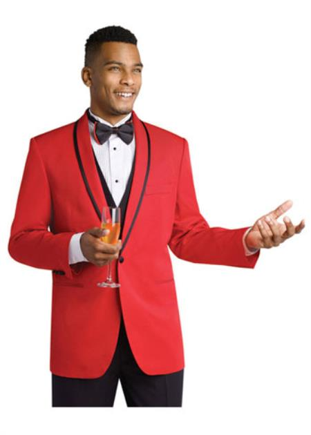 Mens Red Formal Attire Dinner Jacket Suit and Black Lapel + Black Pants Fashion Tuxedo For Men - Red Tuxedo