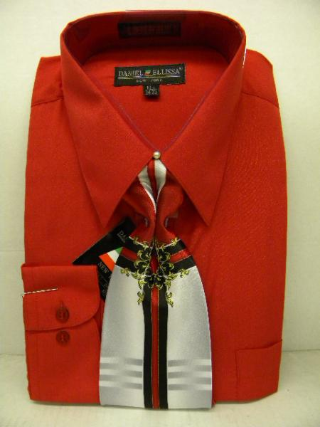 SKU#MK2930 Mens Red Dress Shirt Tie Set