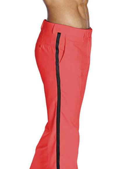 Mens Red Flat Front With Satin Band Classic Fit Tuxedo Pant