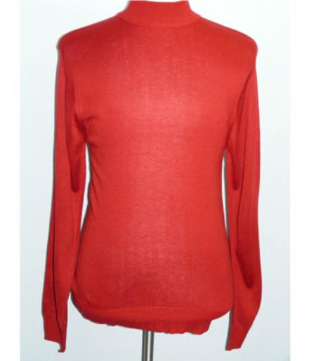 Buy SS-115 Mens INSERCH Christmas Red Mock Neck Pullover Knit Sweater High Collar Casual