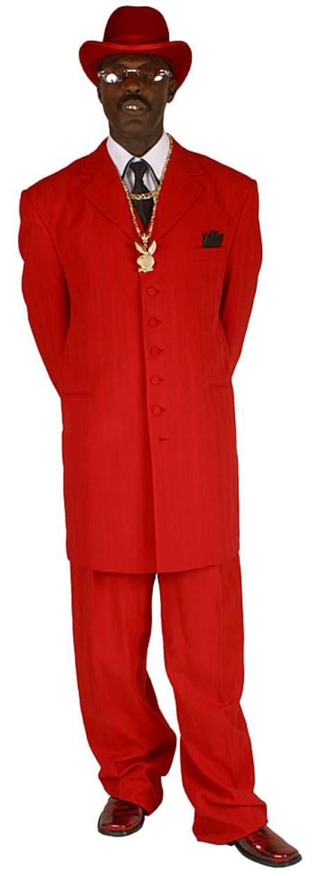 SKU# KXH529 Mens Red Long Dress Fashion Suits