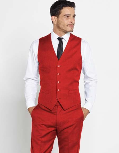 Mens Wool Vest + Matching Solid Red Regular Fit Dress Pants Set + Any Color Shirt & Tie