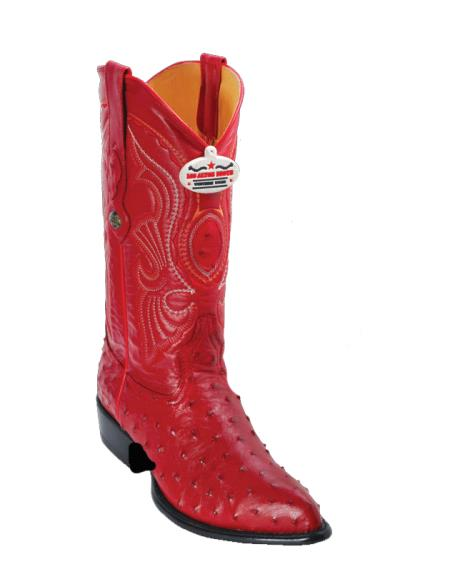 Los Altos Red Ostrich J-Toe Cowboy Boots - Botas De Avestruz