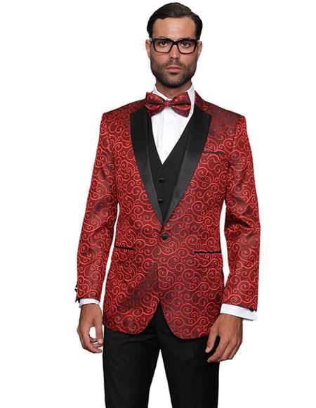 Alberto Nardoni Brand Mens Floral Sateen Unique Paisley Sport Coat  Shiny Flashy Silky Satin Stage Fancy Stage Party Two Toned Cheap Priced Blazer Jacket For Men / Sport coat / Mens Jacket / Dinner Jacket Red