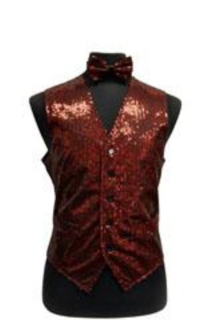 Sparkly Bow Tie Satin Shiny Sequin Dress Tuxedo Wedding Vest/bow tie set Red and Black Vest