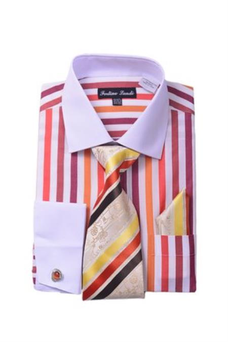 Red Men's White Collar Two Toned Contrast Unique Stripe Fashion Shirt Tie White Collared Contrast  And Hanky Matching Color