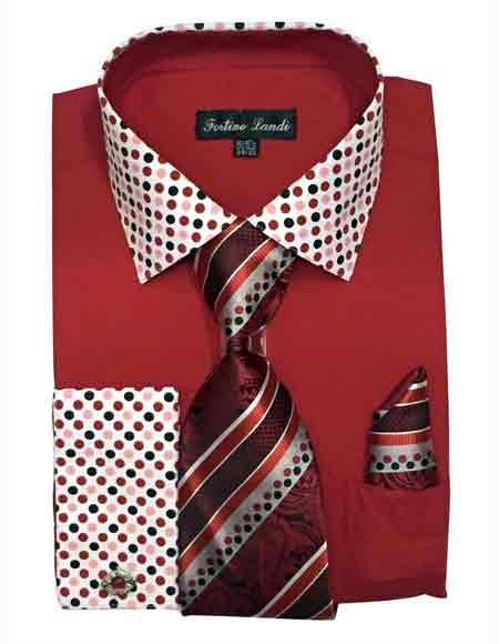Buy SM2487 Men's Cotton Blend Solid/Polka Dot Pattern Red Dress Shirt Matching Tie & Hanky