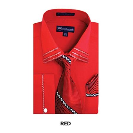 SS-7154 Mens Red Spread Collar Fashion Shirt Matching Tie, Hankie