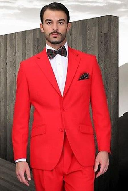 Buy KA7723 Mens Red Poly~Rayon Fabric Modern Cut 2 Button Suit