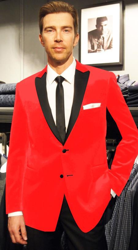 Velvet Velour Cheap Blazer Jacket For Men Formal Tuxedo Jacket Sport Coat Two Tone Trimming Notch Collar Hot Red