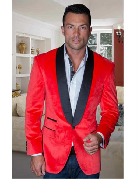 Sport Coat Jacket Mens Red Shawl Collar Velvet Cheap Priced Blazer Jacket For Men