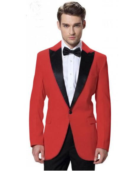 Mens Red Jacket Black Lapel Tuxedos with Black Pant One Button Elegant Slim Fit Wedding Suit - Red Tuxedo