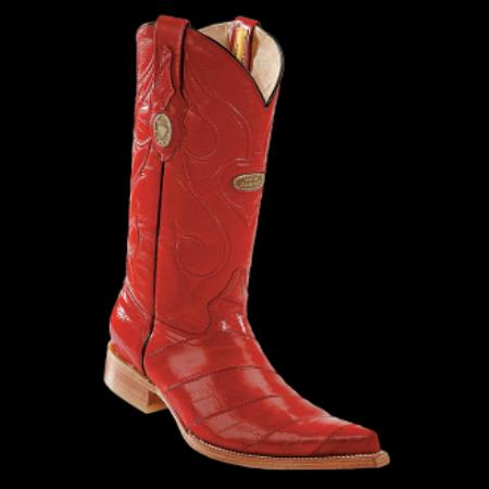 Buy KA1990 New Reg: $795 discounted sale clearance diamonds Boots-Men's Eel Red 3x_Toe Cowboy Boots