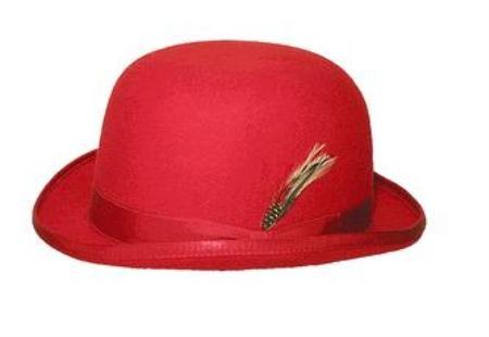 SKU# FM3 100% Genuine Deluxe Fur Felt Classic Wool bowler derby style ~ Bowler Red Hat