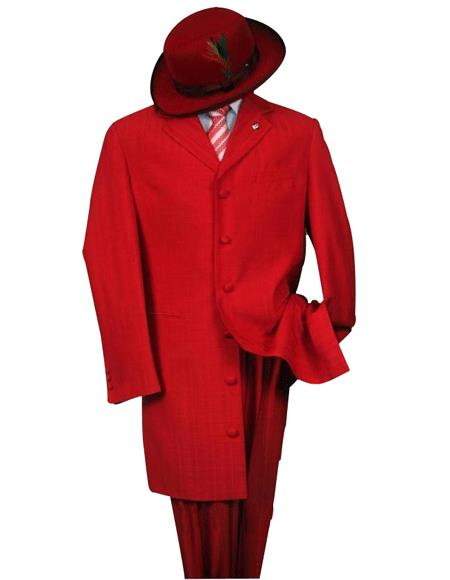 Men's Metalic Hot Red Fashion Dress Zoot Suit 38 Inch Long