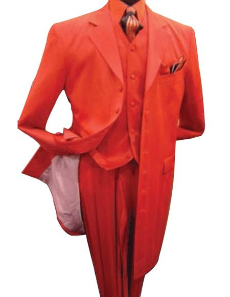 SKU# TE93 Mens Hot Red 3 Piece Fashion Zoot Suit + Shirt + Tie + Vest Package $165