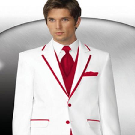 Mens 2 Button Style White Tuxedo With Red Trim Collar + Matching Vest & Tie & Pants