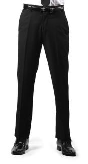 Mens Premium Regular Fit Flat Front Dress Pants Black