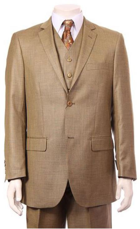 Mens Regular Fit Two 2 Button Vested Suit 3 Pieces Pleated Pants Side Vents With Sheen Sharkskin mini pattern Dijon Canary ~ Wheat Color