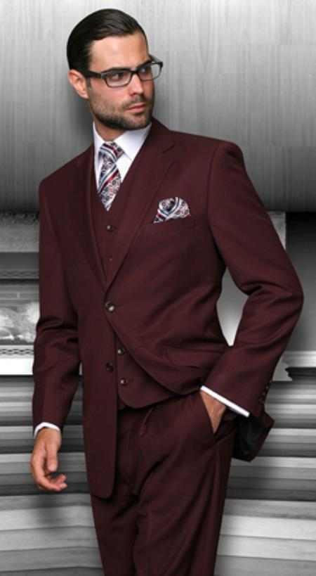 593d20c53fd669 2 Button Vested 3 Piece Suits Mens 3 Piece Regular Fit Burgundy ~ Wine ~ Maroon  suit
