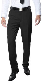 Mens Premium Quality Regular Fit Formal & Business Flat Front Dress Pants Black