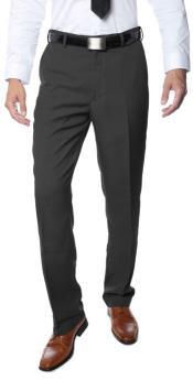 Men's Premium Regular Fit Flat Front Dress Pants Charcoal